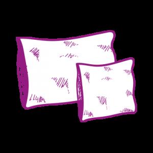 Créations en tissu, dessin des coussins en velours
