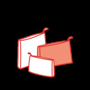 dessin de créations en tissu, pochettes et pochettes maillots mouillés