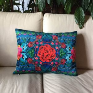 Coussin Poppy rouge/turquoise